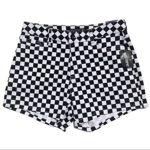 Hot Topic black and white checkered jean shorts